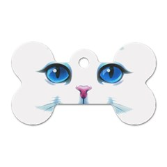 Cute White Cat Blue Eyes Face Dog Tag Bone (One Side)
