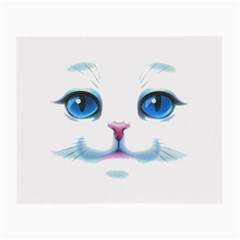 Cute White Cat Blue Eyes Face Small Glasses Cloth (2-Side)