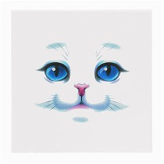 Cute White Cat Blue Eyes Face Medium Glasses Cloth