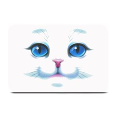 Cute White Cat Blue Eyes Face Plate Mats