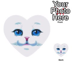 Cute White Cat Blue Eyes Face Multi-purpose Cards (Heart)