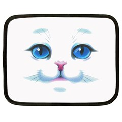 Cute White Cat Blue Eyes Face Netbook Case (Large)