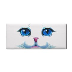 Cute White Cat Blue Eyes Face Hand Towel