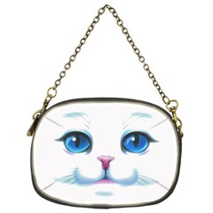Cute White Cat Blue Eyes Face Chain Purses (One Side)