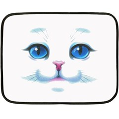 Cute White Cat Blue Eyes Face Fleece Blanket (Mini)