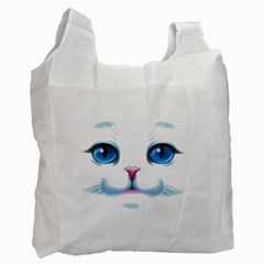 Cute White Cat Blue Eyes Face Recycle Bag (One Side)