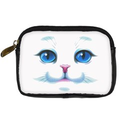 Cute White Cat Blue Eyes Face Digital Camera Cases