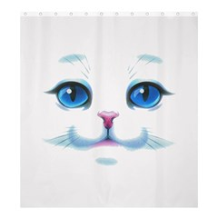 Cute White Cat Blue Eyes Face Shower Curtain 66  x 72  (Large)