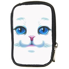 Cute White Cat Blue Eyes Face Compact Camera Cases
