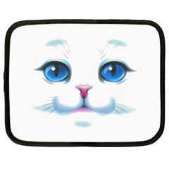 Cute White Cat Blue Eyes Face Netbook Case (XL)