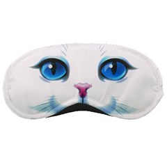Cute White Cat Blue Eyes Face Sleeping Masks