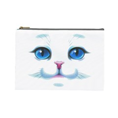 Cute White Cat Blue Eyes Face Cosmetic Bag (Large)