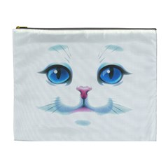 Cute White Cat Blue Eyes Face Cosmetic Bag (XL)