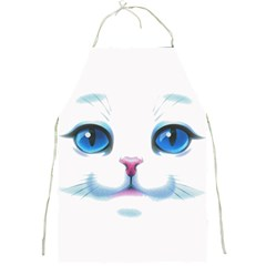Cute White Cat Blue Eyes Face Full Print Aprons