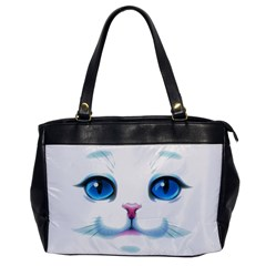 Cute White Cat Blue Eyes Face Office Handbags