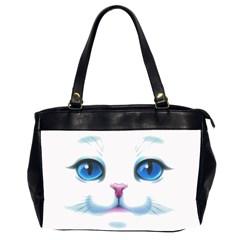 Cute White Cat Blue Eyes Face Office Handbags (2 Sides)