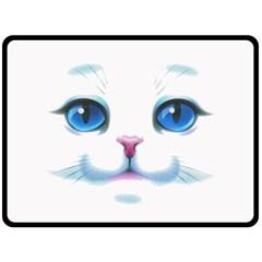 Cute White Cat Blue Eyes Face Fleece Blanket (Large)