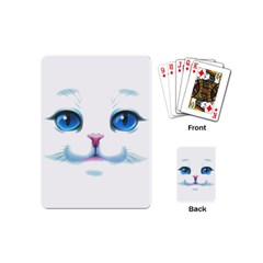 Cute White Cat Blue Eyes Face Playing Cards (Mini)