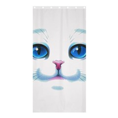 Cute White Cat Blue Eyes Face Shower Curtain 36  x 72  (Stall)