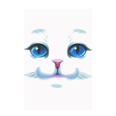 Cute White Cat Blue Eyes Face Shower Curtain 48  x 72  (Small)