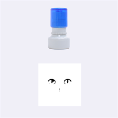 Cute White Cat Blue Eyes Face Rubber Round Stamps (Small)