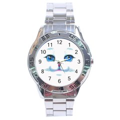 Cute White Cat Blue Eyes Face Stainless Steel Analogue Watch