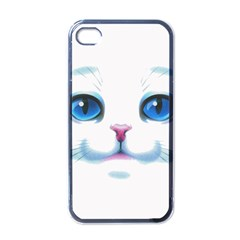 Cute White Cat Blue Eyes Face Apple iPhone 4 Case (Black)
