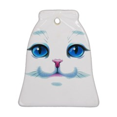 Cute White Cat Blue Eyes Face Ornament (Bell)