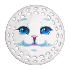 Cute White Cat Blue Eyes Face Round Filigree Ornament (2Side)