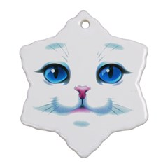 Cute White Cat Blue Eyes Face Snowflake Ornament (2-Side)