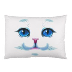 Cute White Cat Blue Eyes Face Pillow Case (Two Sides)