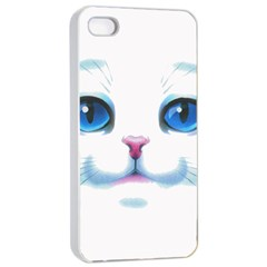 Cute White Cat Blue Eyes Face Apple iPhone 4/4s Seamless Case (White)