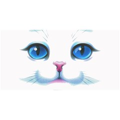 Cute White Cat Blue Eyes Face YOU ARE INVITED 3D Greeting Card (8x4)