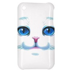 Cute White Cat Blue Eyes Face Apple iPhone 3G/3GS Hardshell Case