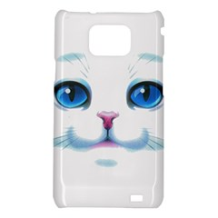 Cute White Cat Blue Eyes Face Samsung Galaxy S2 i9100 Hardshell Case