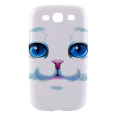 Cute White Cat Blue Eyes Face Samsung Galaxy S III Hardshell Case