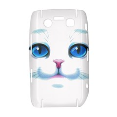 Cute White Cat Blue Eyes Face Bold 9700