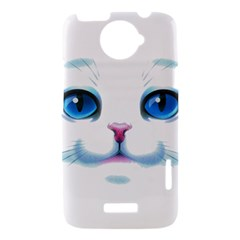 Cute White Cat Blue Eyes Face HTC One X Hardshell Case