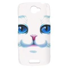 Cute White Cat Blue Eyes Face HTC One S Hardshell Case
