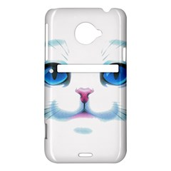 Cute White Cat Blue Eyes Face HTC Evo 4G LTE Hardshell Case