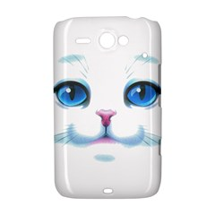 Cute White Cat Blue Eyes Face HTC ChaCha / HTC Status Hardshell Case