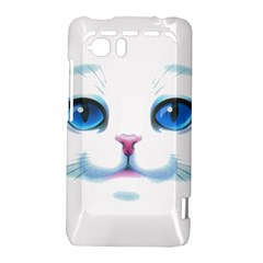 Cute White Cat Blue Eyes Face HTC Vivid / Raider 4G Hardshell Case