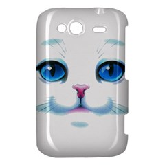 Cute White Cat Blue Eyes Face HTC Wildfire S A510e Hardshell Case