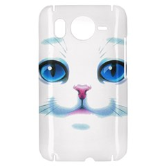 Cute White Cat Blue Eyes Face HTC Desire HD Hardshell Case