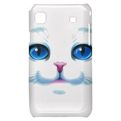 Cute White Cat Blue Eyes Face Samsung Galaxy S i9000 Hardshell Case