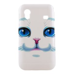 Cute White Cat Blue Eyes Face Samsung Galaxy Ace S5830 Hardshell Case