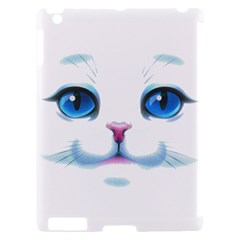 Cute White Cat Blue Eyes Face Apple iPad 2 Hardshell Case (Compatible with Smart Cover)