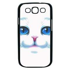 Cute White Cat Blue Eyes Face Samsung Galaxy S III Case (Black)