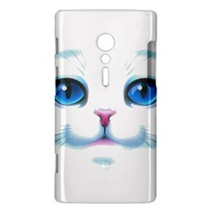 Cute White Cat Blue Eyes Face Sony Xperia ion