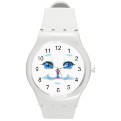 Cute White Cat Blue Eyes Face Round Plastic Sport Watch (M)